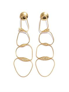 Fluid lines of 18ct yellow gold and clusters of twinkling white diamonds make up these chain earrings from Fernando Jorge. Keep this exquisite pair the focal point of all your day and evening looks with swept back hair.