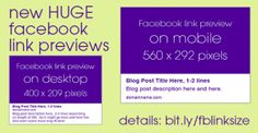 NEW Facebook Link Thumbnails: Optimize Your Blog Images!  Use these new sizes for the greatest visual impact on Facebook!