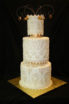 Victorian Lace wedding Cake By allris on CakeCentral.com
