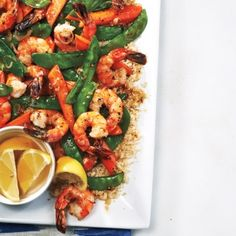Plump shrimp, crisp snow peas and sweet spring carrots are glazed with a rich, nutty brown butter in this stir-fry— and it only takes a few minutes to cook! Squeezing a little lemon over top at the table adds a bright citrus note that cuts through the richness of the butter. Serve with steamed rice or couscous.
