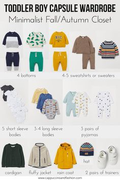 Toddler Boy Capsule Wardrobe with a free checklist. Minimalist baby and toddler wardrobe to make your mom life easier boy capsule wardrobe fall Fall Toddler Capsule Wardrobe Toddler Boy Fashion, Little Boy Fashion, Toddler Girl Outfits, Fashion Kids, Toddler Boys, Kids Outfits, Fashion Fall, Capsule Wardrobe Mom, Fall Wardrobe