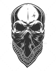Buy Illustration of Skull in Bandana on Face by imogi on GraphicRiver. Illustration of skull in bandana on face. Isolated on white background Gangster Tattoos, Biker Tattoos, Face Tattoos, Skull Tattoos, Body Art Tattoos, Sleeve Tattoos, Skull Face Tattoo, Ship Tattoos, Turtle Tattoos
