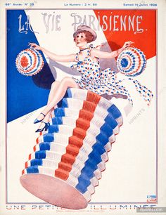 Georges Léonnec – La Vie Parisienne, Multi-coloured monogram in colours of the French flag, repeated in caption. Art Deco Illustration, Illustrations, Advertising Poster, Vintage Artwork, Pulp Fiction, French Vintage, Fine Art Prints, Cartoon, Magazine Covers