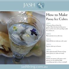 Edible pansies in ice cubes for special entertaining at home. Autumn Flower ideas #flowers #mothersday #aboutthegarden #edible #ice #DIY