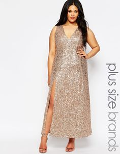 Lovedrobe Sequin Maxi Dress With Plunge Front
