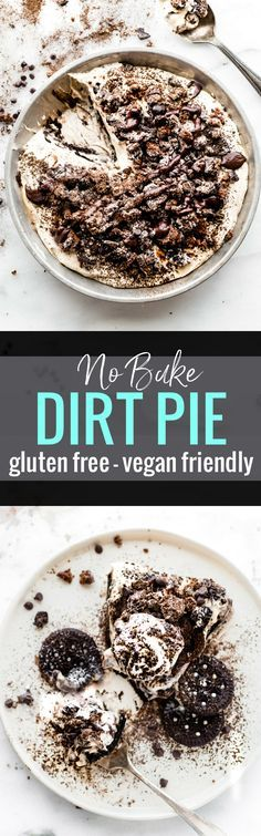 """A vegan friendly no bake dirt pie just got a healthier upgrade! This EASY no bake dessert made with GLUTEN FREE AND VEGAN FRIENDLY """"Oreo"""" type cookies, coconut cream, dates, dark chocolate, and more. Plus it has the perfect 3 ingredient no bake dark chocolate crust to go with it. Easy and Tasty! www.cottercrunch.com"""