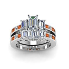 Emerald Cut diamond Channel Set 3 stone Wedding Ring Sets with Orange Sapphire in 14K White Gold exclusively styled by Fascinating Diamonds
