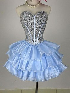 Cute Mini Blue Short/Mini Layers Sweetheart Beaded Homecoming Dress,#bluedress,#partydress,#cute,#homecomingdress