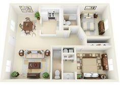 Plano de departamento moderno de 2 dormitorios y 2  baños