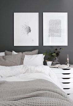 Scandinavian Bedroom Design Scandinavian style is one of the most popular styles of interior design. Although it will work in any room, especially well . Decor Room, Home Decor Bedroom, Diy Home Decor, Wall Decor, Gray Bedroom, Bedroom Wall, Master Bedroom, Bed Room, Modern Bedroom