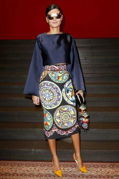 Giovanna Battaglia - Milan Fashion Week.  (September 2014)
