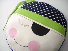 Pillow Baby  Navy and Lime Pirate  kids boy by iwantedtowonder, $18.95
