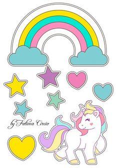 topo de papel para imprimir Unicorn Art, Cute Unicorn, Unicorn Birthday Parties, Birthday Party Decorations, Unicorn Pictures, Baby Clip Art, Unicorn Cake Topper, Rainbow Painting, Sticker Design