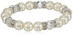 1928 Jewelry Bridal Crystal SilverTone Simulated Pearl and Crystal Stretch Bracelet 7 -- Click image to review more details. Note: It's an affiliate link to Amazon.