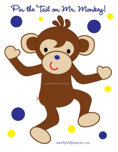 LynnetteArt: Pin the Tail on Mr. Monkey birthday party game