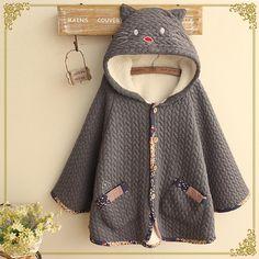 Japanese harajuku cute cat hooded cloak coat