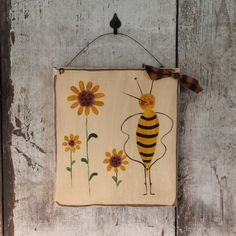 Primitive Bee Summer Sign With Sunflowers Decor Country Painted