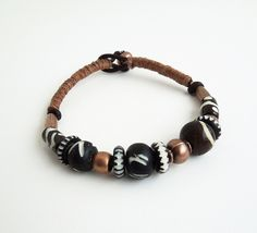 Manly / masculine bracelet - Bracelet for men, dudes, guys - Pewter and wood beads on leather- Boho / bohemian / earthy | Flickr - Photo Sharing!