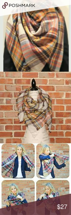 Harvest blanket scarf wrap  plaid tartan orange 100% acrylic  Measures approximately 55 by 55 inches   Super soft!  Frayed edges  Can be worn many different ways  Colors are yellow, orange, light grey, brown and blue   For best care, hand wash, hang dry, and warm iron if needed.   Sorry, NO TRADES  Price firm unless bundled Sofi + Sebastien  Accessories Scarves & Wraps