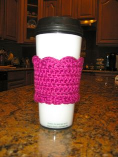 Pink Crocheted coffee cozy