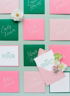 Charleston Coral and Mint Wedding - Be Inspired PR- coral and green table assignments