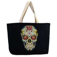 Purple Leopard Boutique - Large Sturdy Black Canvas Tote with Colorful Day of the Dead Skull, $25.00 (http://www.purpleleopardboutique.com/large-sturdy-black-canvas-tote-with-colorful-day-of-the-dead-skull/)