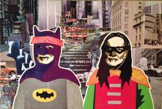 Willie as Batman & Robin IX -- 16.5 x 24in -- Mixed Media on Board -- CONTACT: blacksheepranchatx@gmail.com