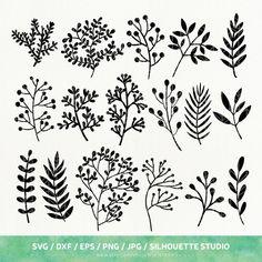 Best Indoor Garden Ideas for 2020 - Modern Botanical Line Drawing, Floral Drawing, Botanical Drawings, Leaf Silhouette, Silhouette Studio, Arrow Tattoo, Karten Diy, Desenho Tattoo, Simple Doodles