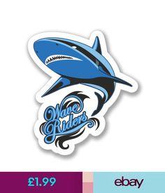 Scrapbooking 2 X Wave Riders Surf Shark Sticker Car Bike Ipad Laptop Decal Gift Cool 4126 #ebay #Home & Garden