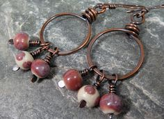 Hammered Copper Hoop Earrings with Rasberry by PattiVanderbloemen, $25.00