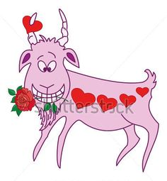 Funny cartoon goat with holiday Valentine red hearts and roses in their teeth. Vector illustration