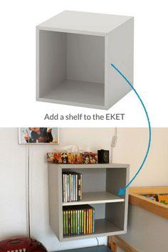 EKET CD Rack: How to add a shelf to the cube - Ikea Ideas Decoration Living Room Hacks, Ikea Living Room, Ikea Bedroom, Ikea Cubes, Wall Cubes, Ikea Kids Room, Cube Shelves, Ikea Hackers, Boy Room