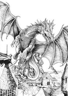 "smaugh (bw) by NachoCastro. all the drawings here,are for a book call ""Tolkien,seres fantásticos de la tierra media""-Alberto Santos editor"