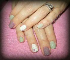 Shellac: Mint Convertible, Lilac Longing & Cream Puff w/ Gelish: Vegas Nights Glitter