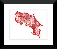 Costa Rica Poster Map Art | Costa Rica Typography Map Print