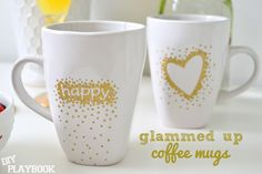 Gold dotted coffee mugs with stickers and OIL-BASED sharpies