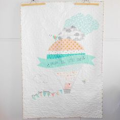 Modern patchwork baby quilt, the elephant in the hot air balloon, Dream big…