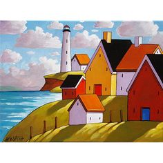 Art print, lighthouse coastal landscape with brilliant colors in a modern folk art style. ____________________________________________________________  TITLE: Lighthouse Cottage Hillside View  SIZE: Paper - 8 1/2 x 11, Image - 7 x 9 1/8 (white border surrounds image for easy framing)  MEDIUM: Fine art reproduction print, professionally printed in Canada using archival inks and printed on 100% cotton Hahnemühle Photo Rag acid-free paper, which brings out deep blacks and vibrant colours, the…