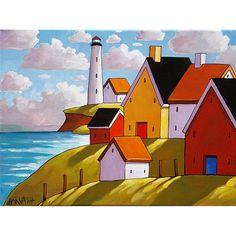 Lighthouse Hillside Cottage View Art Print Seascape, 8x11 Folk Art Coastal Colors Landscape Reproduction Artwork by Cathy Horvath Buchanan
