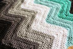 Free Chevron Crochet Blanket Tutorial I love the colors!!