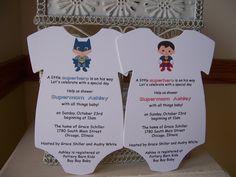 Superhero Baby Shower Invitation --- Custom Die Cut Onesie. $2.00, via Etsy.