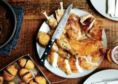 thyme and garlic roast chickens