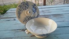 Vintage china serving bowl with lid in Dogwood Blue pattern from Thomas, Smith…