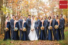 Navy and gray fall bridal party.  Lake Raystown Resort Wedding Photographer: Justine & Brinton » Rhinehart Photography