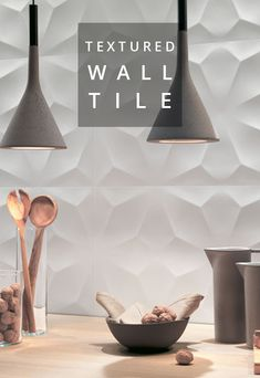 Spectacular ceramic wall tile combines a refined sculptural design with elega. Spectacular ceramic wall tile combines a refined sculptural design with elegant relief for drama Textured Tiles Bathroom, Textured Tiles Wall, Tiles Texture, Kitchen Backsplash Designs, 3d Wall Tiles, Textured Tile Backsplash, Ceramic Wall Tiles, Textured Tiles Kitchen, Kitchen Wall Tiles