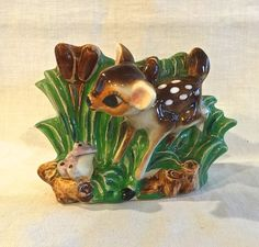 Vintage 1950s ~ Hand Painted, glazed pottery Fawn Deer Planter. White Spots ... Darling little deer figurines with the look of Bambi but is