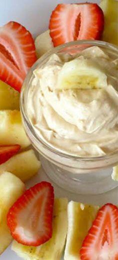 Skinny Peanut Butter-Yogurt Dip Recipe with just two ingredients! - 1/2C Greek yogurt + 1/4C PB (crunchy recommended)