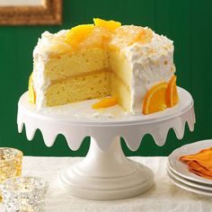 12 Months of Birthday Cake Recipes - January Birthday: Coconut Citrus Layer Cake Just Desserts, Dessert Recipes, Layered Desserts, Dessert Ideas, Yummy Recipes, Fluffy Cream Cheese Frosting, Brownies, Layer Cake Recipes, Deserts