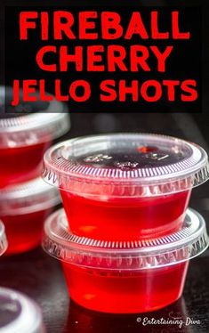 This Fireball cherry Jello shots recipe is the best! I love the cinnamon flavor … This Fireball Cherry Jello Shots recipe is the best! I love the cinnamon flavor and the red jello is perfect for my Super Bowl party. Malibu Jello Shots, Cherry Jello Shots, Margarita Jello Shots, Best Jello Shots, Malibu Rum, Summer Jello Shots, Fireball Margarita Recipe, July 4th Jello Shots, Jello Shots Recept