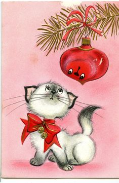 Vintage Cat and Ornament Christmas Card Images Vintage, Vintage Christmas Images, Old Christmas, Old Fashioned Christmas, Retro Christmas, Vintage Holiday, Christmas Pictures, Christmas Greetings, Holiday Cards